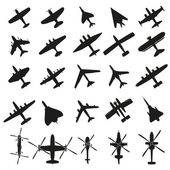 Icons set Airplanes — Stock Vector