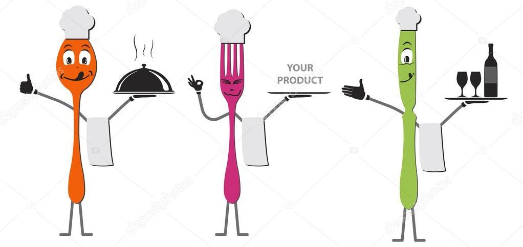 勺子刀和叉卡通