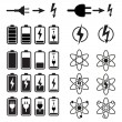 Set of battery charge level indicators on white — Vector de stock #21476045