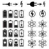 Set di indicatori di livello carica batteria su bianco — Vettoriale Stock