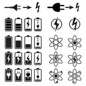 Set of battery charge level indicators on white — Vector de stock