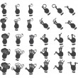 Stock Vector: Set of multitouch gestures