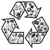 Énergie et ressources icônes flèche de recycler — Vecteur
