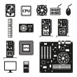 Stock Vector: Set of computer hardware icons
