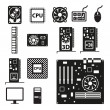 Set of computer hardware icons — Stock Vector