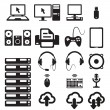 Stock Vector: Set of computers and hardware icons