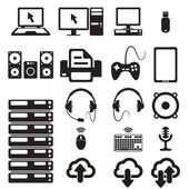 Set of computers and hardware icons — Stock Vector