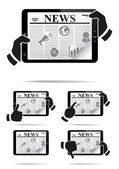 Hands holding tablet pc with news. — Stock Vector