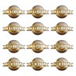 Set of 100% guarantee golden labels — Vettoriale Stock