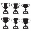 Black trophy and awards icons set — Stock Vector #23722693