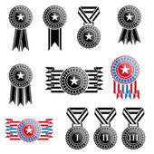 Black trophy and awards icons set — Stock Vector