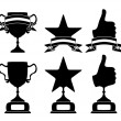 Black trophy and awards icons set — Stock Vector #24152053