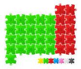 Colorful puzzle calendar — Stock Vector