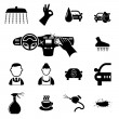 Stock Vector: Car wash icons set