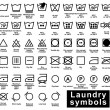 Icon set of laundry symbols — Stock Vector