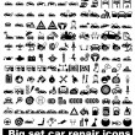 большой набор ремонт автомобилей иконы — Cтоковый вектор