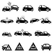 Icons set of car accident — Stock Vector
