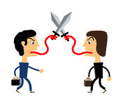 Two people fighting with their tongues — Stock Vector
