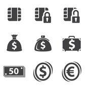 Money set icon — Vettoriale Stock