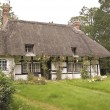 Traditional thatched roof cottage - Stock Photo