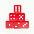 Red dice stacked in order — Foto Stock