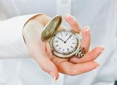 Orologio da tasca in mano di un uomo d'affari — Foto Stock