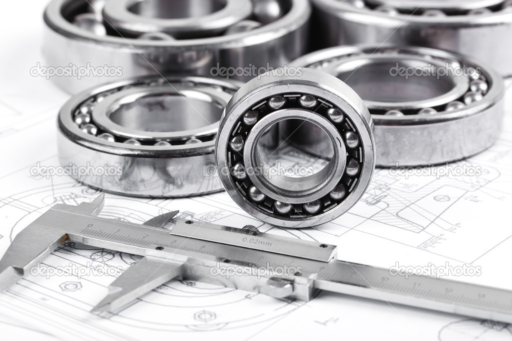 Technical drawing and pinion with bearings  — Stock Photo #16293173