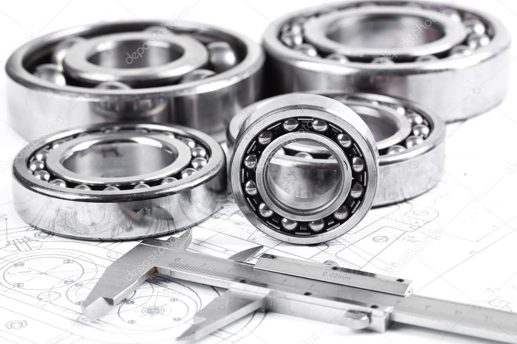 Technical drawing and pinion with bearings  — Stock Photo #16293177