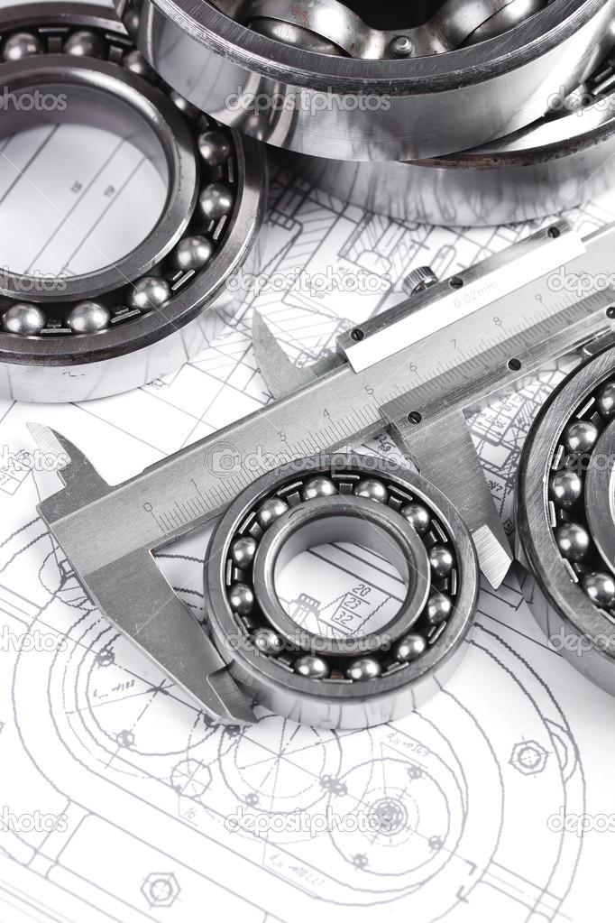 Technical drawing and pinion with bearings  — Stock Photo #16293433