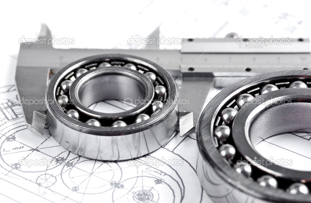 Technical drawing and pinion with bearings  — Stock Photo #16293471