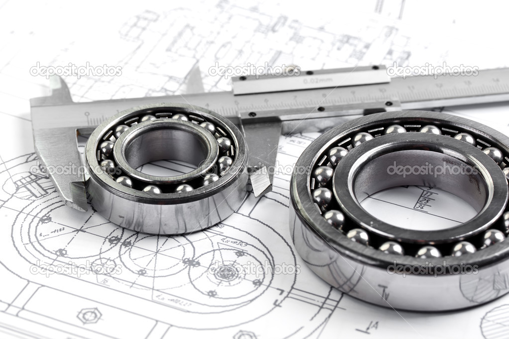 Technical drawing and pinion with bearings  — Stock Photo #16293477