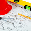 Architect rolls and plans. - Stock Photo