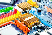 Computer motherboard electrical components — Stock Photo