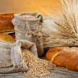 Stock Photo: Bread and rye spikelets