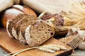 Bread and rye spikelets — Stock Photo