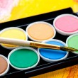 Paints and brushes in the composition — Foto de Stock