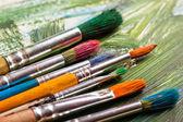 Barvy a štětce — Stock fotografie
