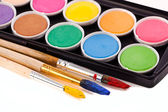 Paints and brushes — 图库照片
