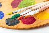 颜料和画笔 — 图库照片