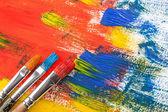 Tintas e pincéis — Fotografia Stock