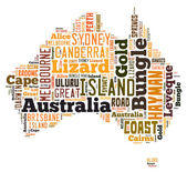 Word Cloud of Australia Maps — Stock Photo