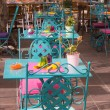 Colorful outdoor table s — Stock Photo