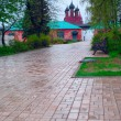Ancient Russian town in the rain in early spring — Stock Photo