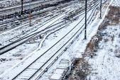 Ferrocarril nevado — Foto de Stock