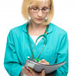 Portrait of a woman wearing doctor uniform — Stock Photo