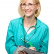 Portrait of a woman wearing doctor uniform — Foto Stock