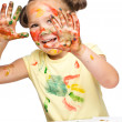 Stock Photo: Portrait of cute girl playing with paints