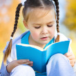Stock Photo: Cute little girl reads a book