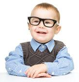 Portrait of a cute little boy wearing glasses — Stock Photo