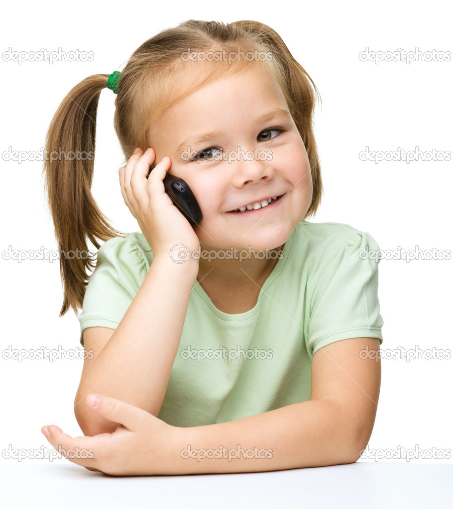 stock photo cute young girls talking phone